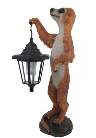 XL Erdmännchen Eddy mit Solar Laterne Lampe Figur 40 cm  TOP – Bild 1