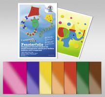 URSUS Fensterfolie farbig transparent 7 Blatt 23x33cm sortiert