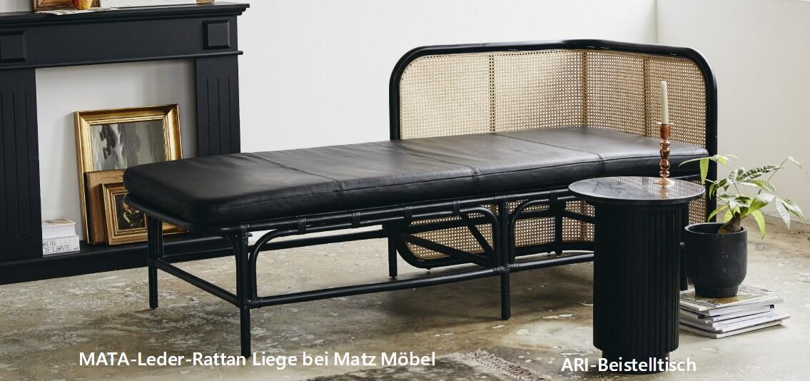Couch Leder-Rattan