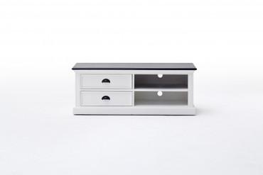 GRETA, TV-Sideboard weiß-schwarz Landhausstil