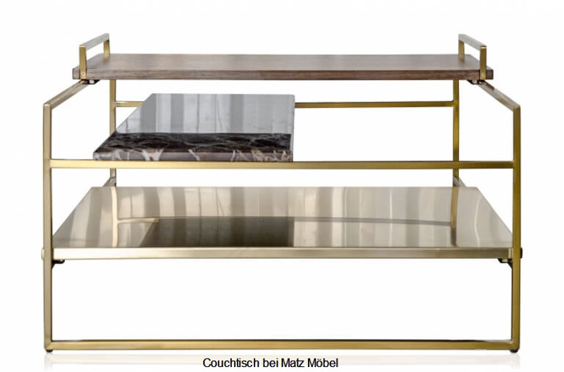 TALL, Couchtisch Holz Marmor Metall, gold