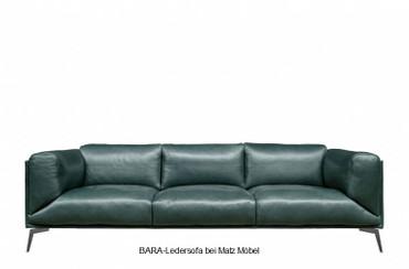 BARA-Ledersofa grün, braun, schwarz