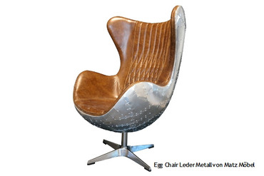 Egg Chair Leder braun-Metall, DAN