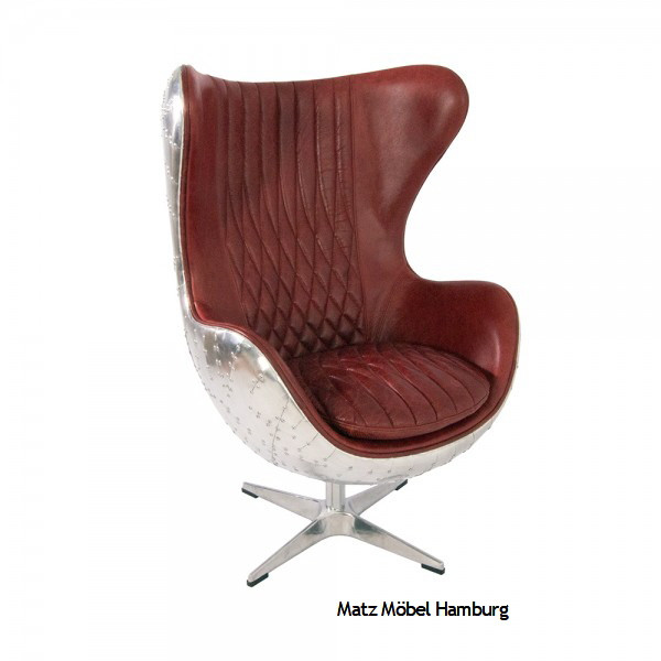 Egg Chair Leder Metall Rot, DAN