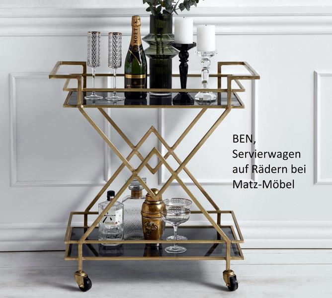 BEN, Servierwagen gold, dunkles Glas
