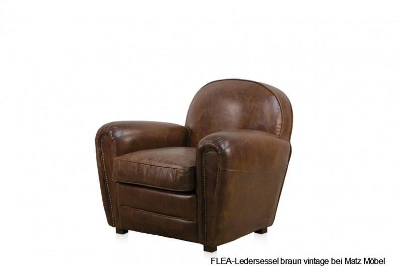 Flea Ledersessel Braun Matz Möbel Vintage Designermöbel