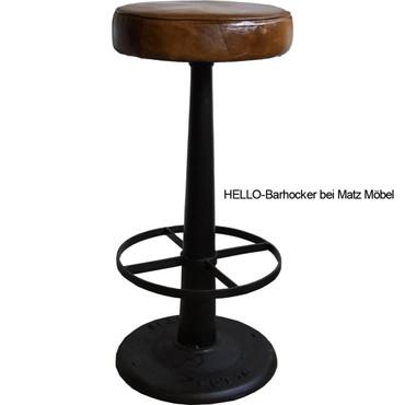 HELLO-Barhocker Leder-Eisen