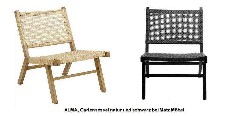 ALMA-Gartenstuhl-Sessel Geflecht natur oder schwarz