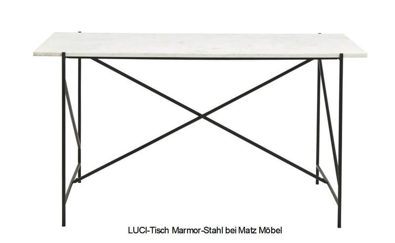 LUCI-weißer Schreibtisch Marmor-Stahl