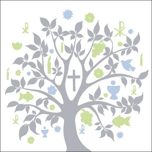 Details Zu 40x Ambiente Servietten Symbol Baum Blau Silber Kommunion Konfirmation Taufe