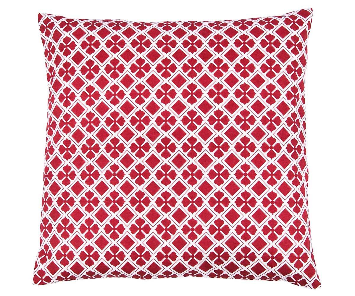 Kissenbezug mit rot-weißem Muster 50 x 50 cm