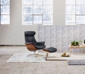 Relaxsessel | Timeout - Fantasyleder Schwarz, Wallnuss mit Aluminiumfuß Bild 2