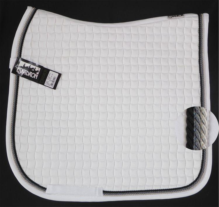 Neu ESKADRON Cotton Schabracke weiß, 3fach Kordel black,anthra,silber