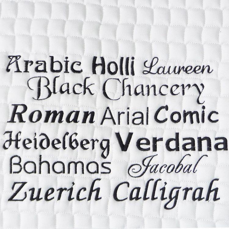 Bestickungs-Service Boxenvorhang bis zu 10 Buchstaben (Garnfarben-Angebot 2)