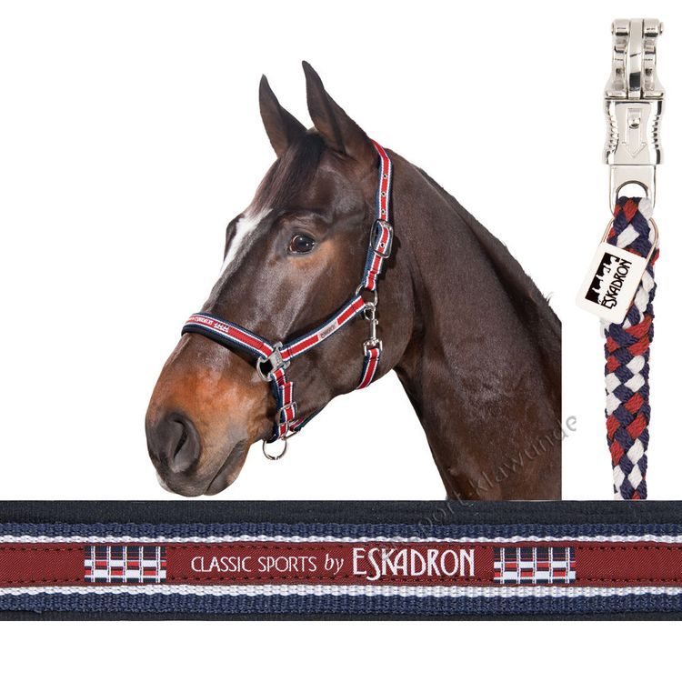 ESKADRON SET Halfter Dornschnalle & Strick red-white-navy