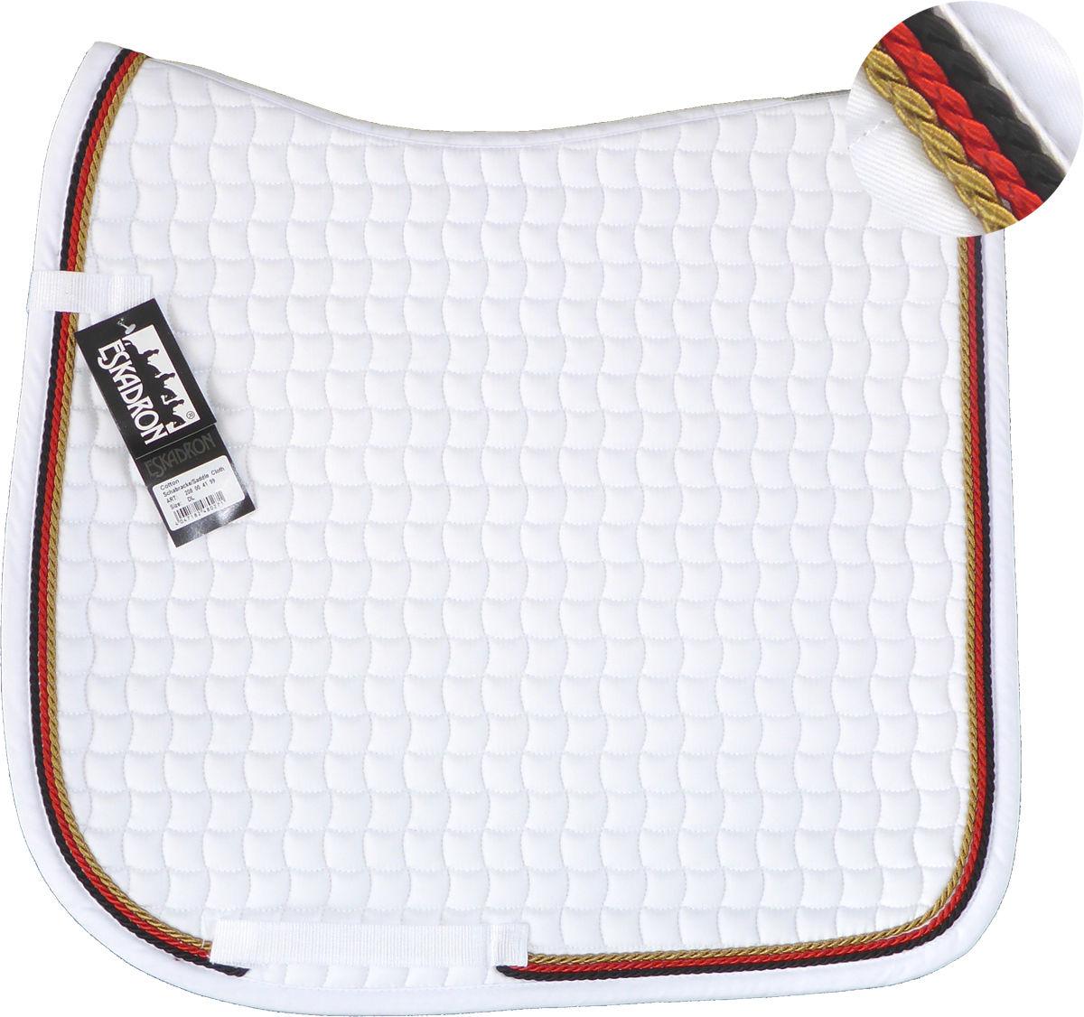 Neu ESKADRON Cotton Schabracke weiß, 3fach Kordel schwarz,rot,gold viele Größen