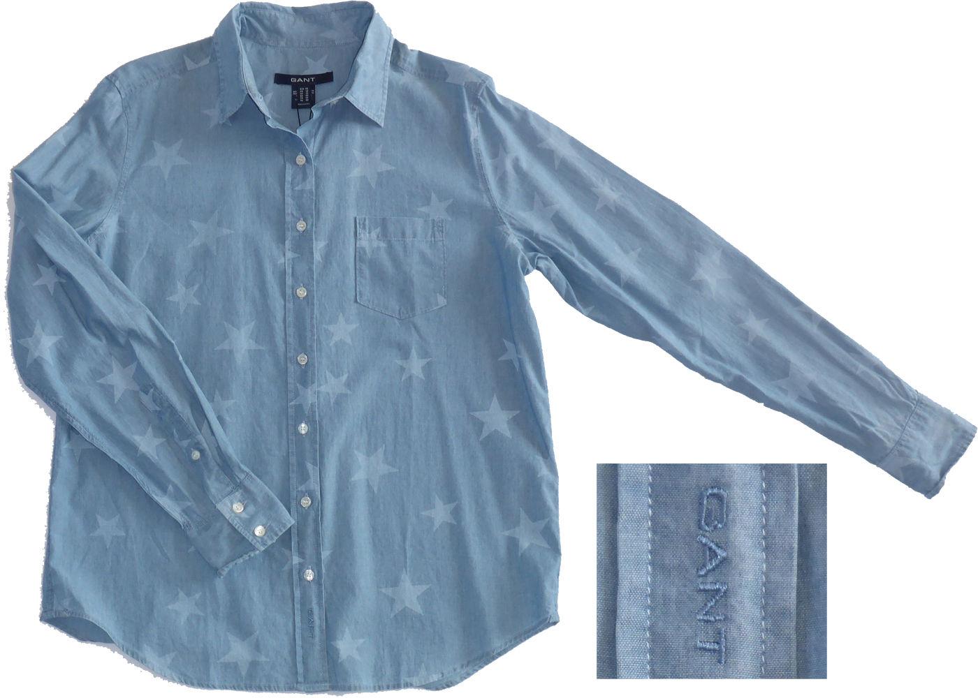 GANT Jeansbluse, Bluse mit Sternchen, Star Indigo Shirt