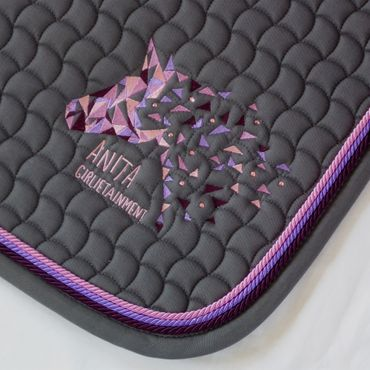 Eskadron Schabracke in grey mit Swarovski Elements & 3fach Kordel blackberry grape