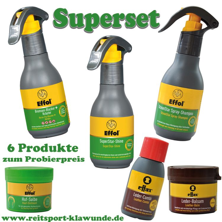 Effol/Effax 6 Set Pflegemittel - Bremsen Blocker, SuperStarShine, OceanSprayShampoo, Hufsalbe.....