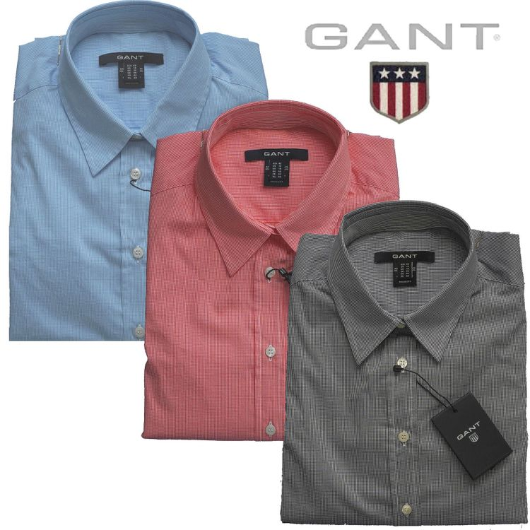 Gant Damen Bluse, small check  viele Farben  NEU (Co Pop Strech Checked Shirt)