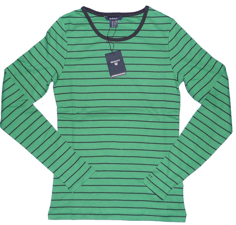 Gant - Striped Rip C-Neck langarm Shirt in crispy green (406704)