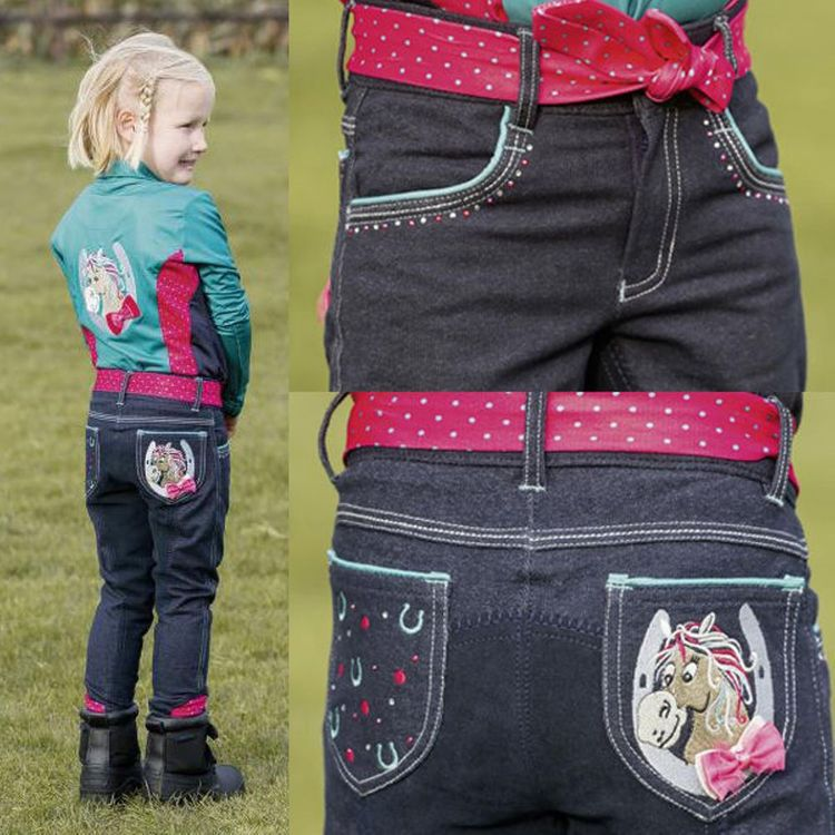 Reithose Jeans KIDS COLLECTION III, in navy/türkis Gr. 98 - 134  (Busse 760175)