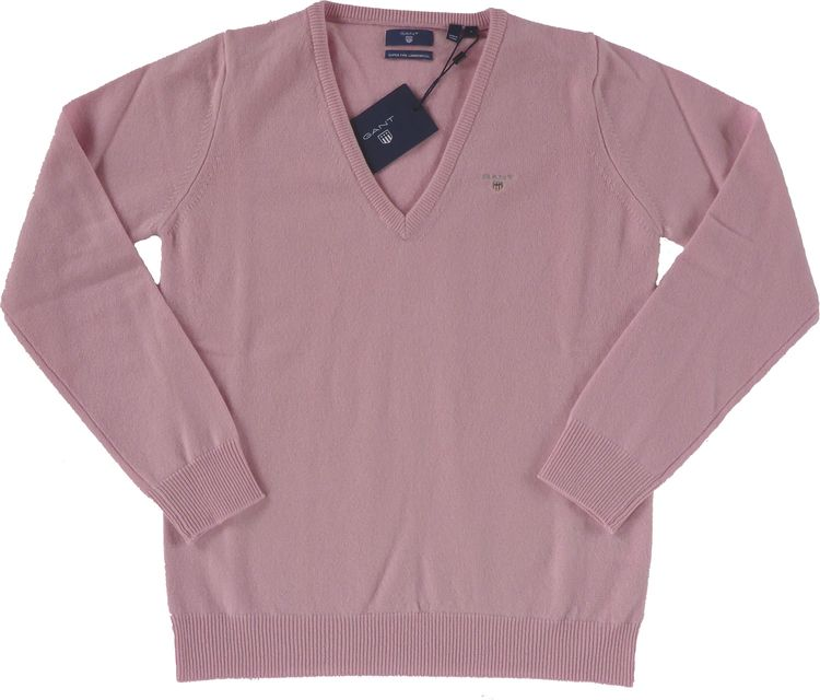 Gant - Damen Strick-Lammswolle V-Neck Pullover in california pink (488412)