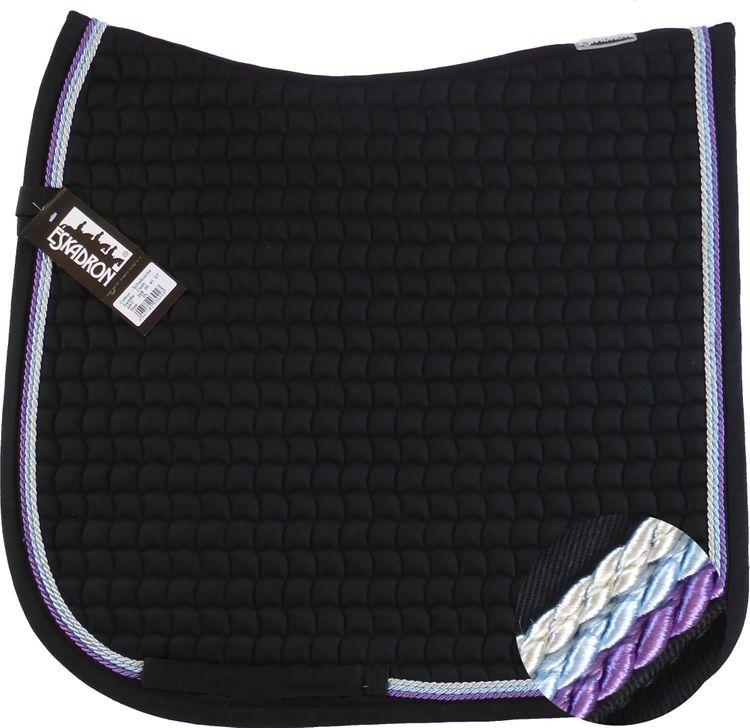 ESKADRON Cotton Schabracke black, 3fach Kordel lavender,hellblau,silberfarben