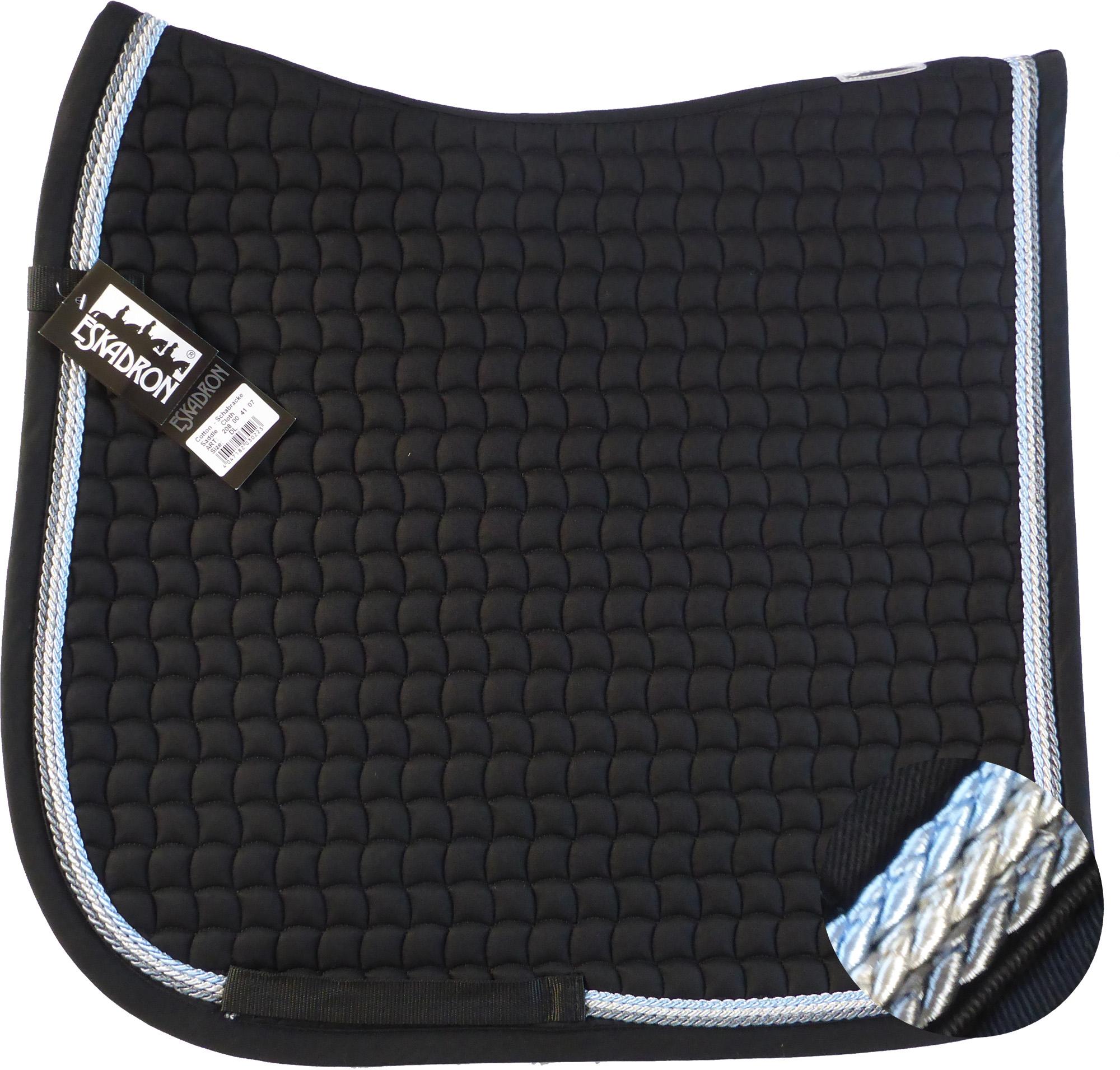ESKADRON Cotton Schabracke black, 3fach Kordel anthrazit,silberfarben,hellblau