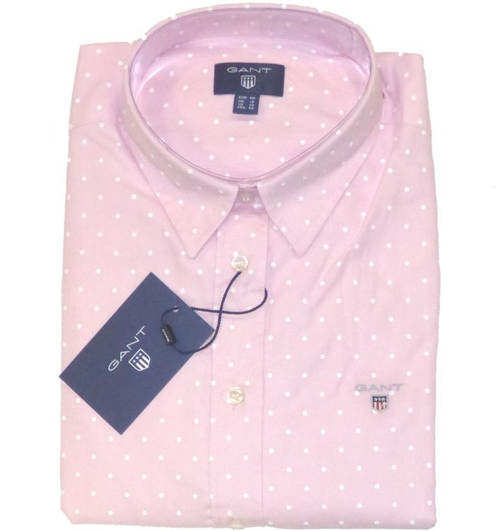 GANT Bluse Strech Oxfort Print Dot in light pink, Pünktchen Bluse 4320002