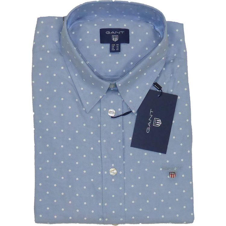GANT Bluse Strech Oxfort Print Dot in sky blue, Pünktchen Bluse 4320002