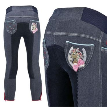 Busse Reithose Jeans KIDS COLLECTION III, in navy/türkis mit Gummibündchen