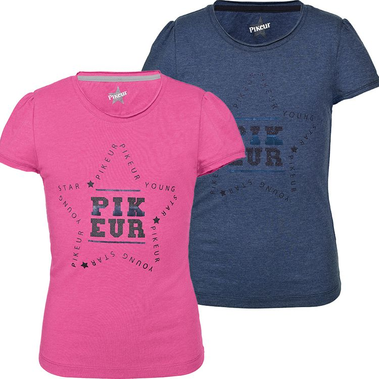 Pikeur Girl Shirt Lisa in pink melange oder blue melange