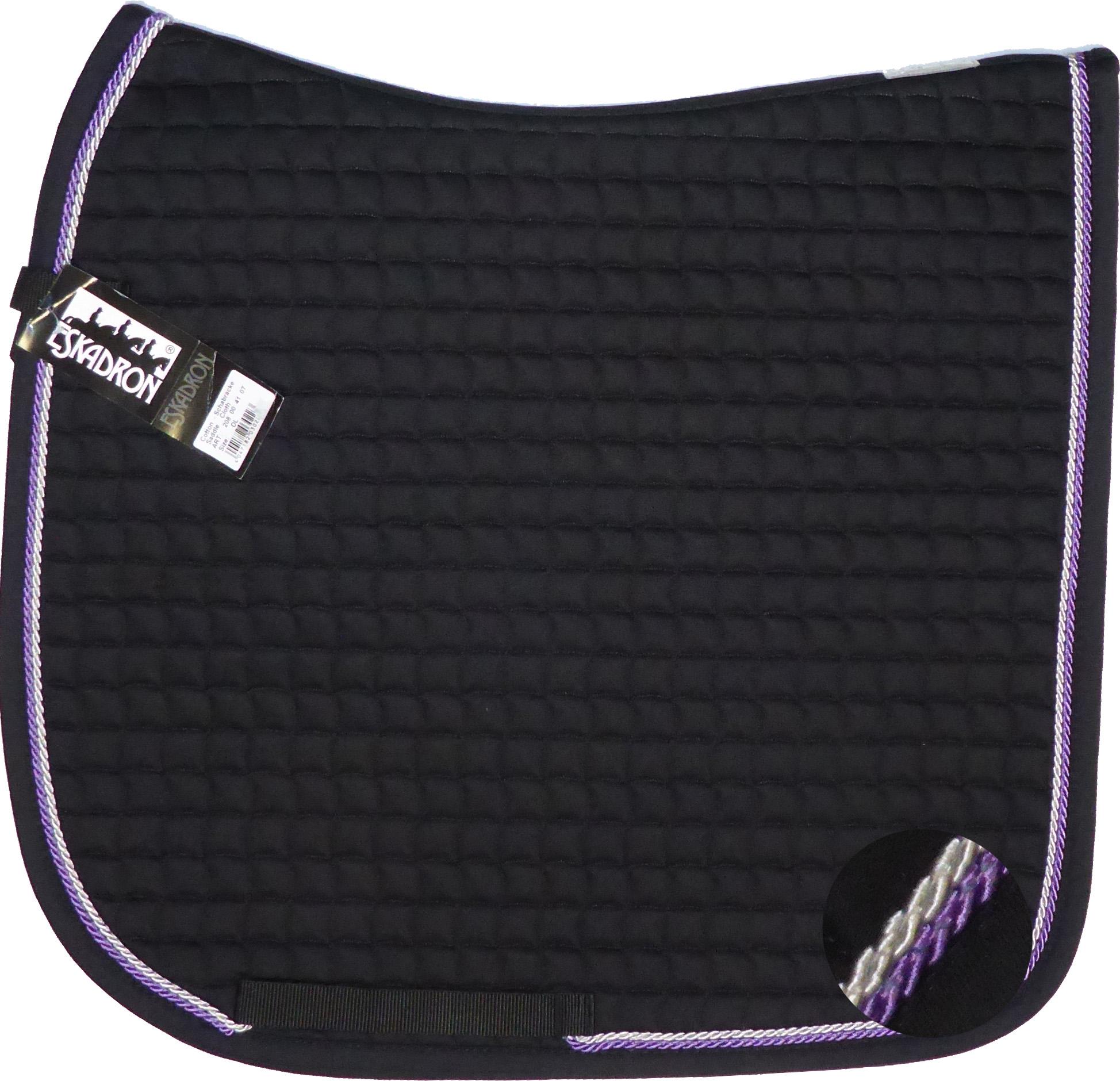 ESKADRON Cotton Schabracke black , 2fach Kordel lavender/silberfarben