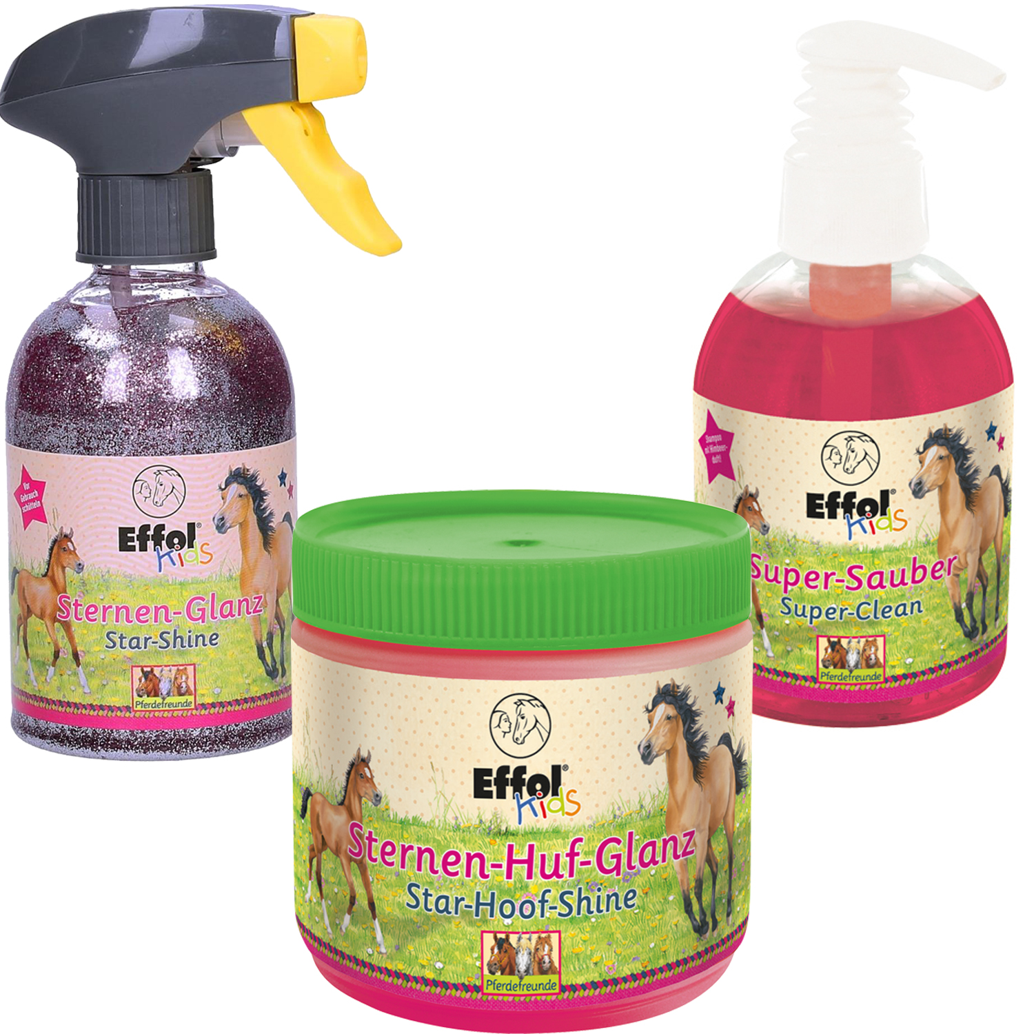 3er Set Effol Kids Sternen- Huf-Glanz, Super-Sauber, Sternenglanz Spray je 300ml
