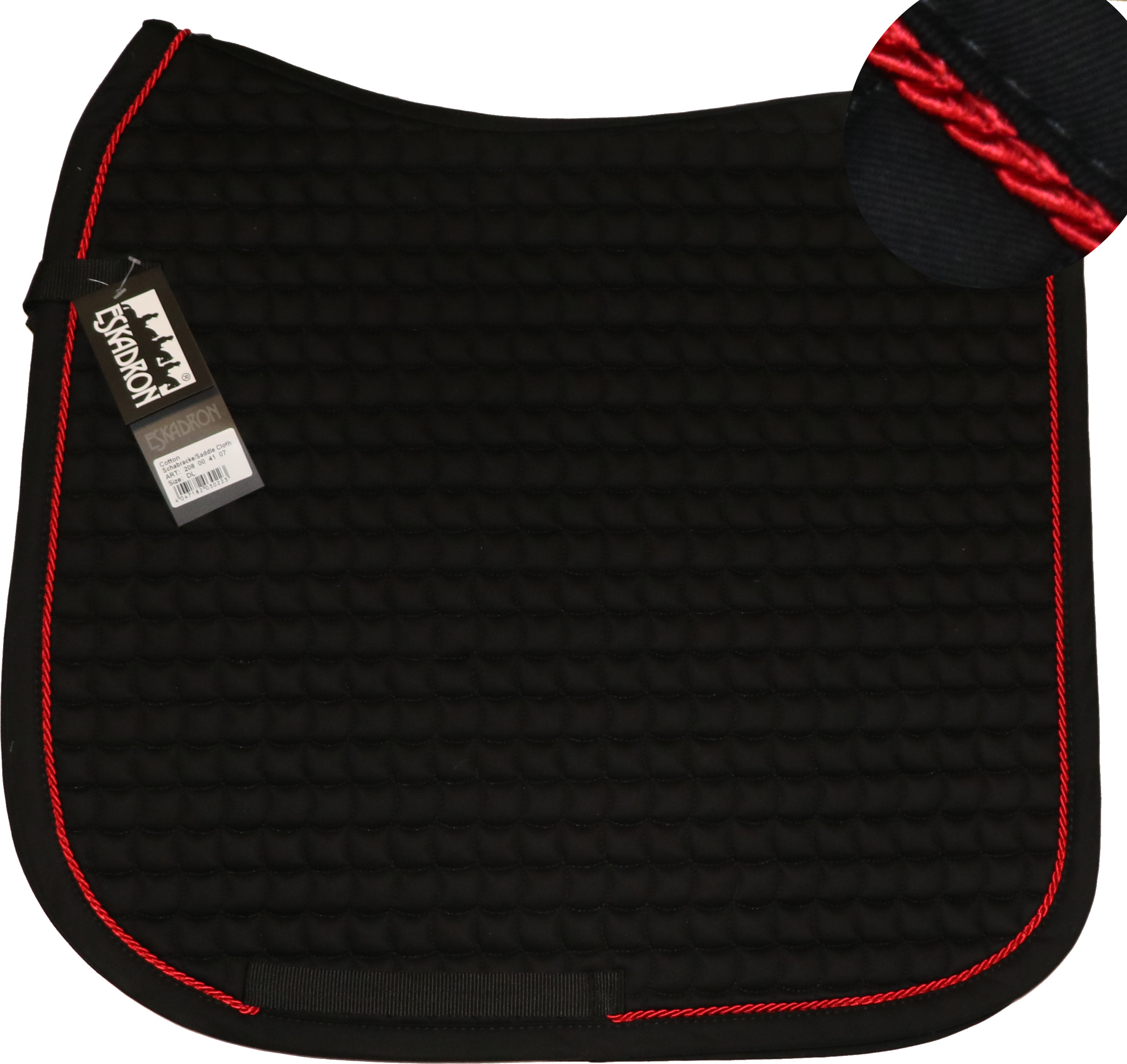 ESKADRON Cotton Schabracke black, einer Kordel in chilli red
