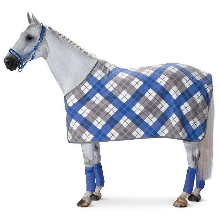 Eskadron Abschwitzdecke Fleece Checked in atlanticblue/marshmellow/silver-pearl