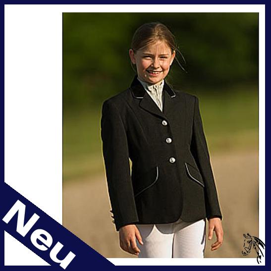 EQUI-THÈME Turnierjacke, Kinder in schwarz (silberfarbene Biese)