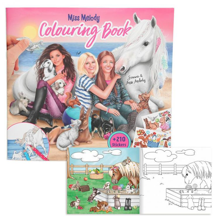 Miss Melody Malbuch mit Tierkindern mit 210 Sticker