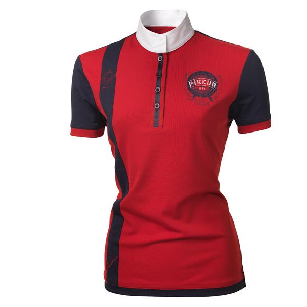 Pikeur Damen Turniershirt zweifarbig mit Kontast in rot/navy
