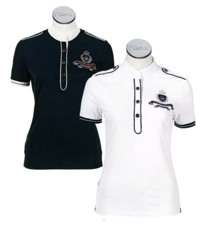 Pikeur Damen Turniershirt mit Kontast in white/navy