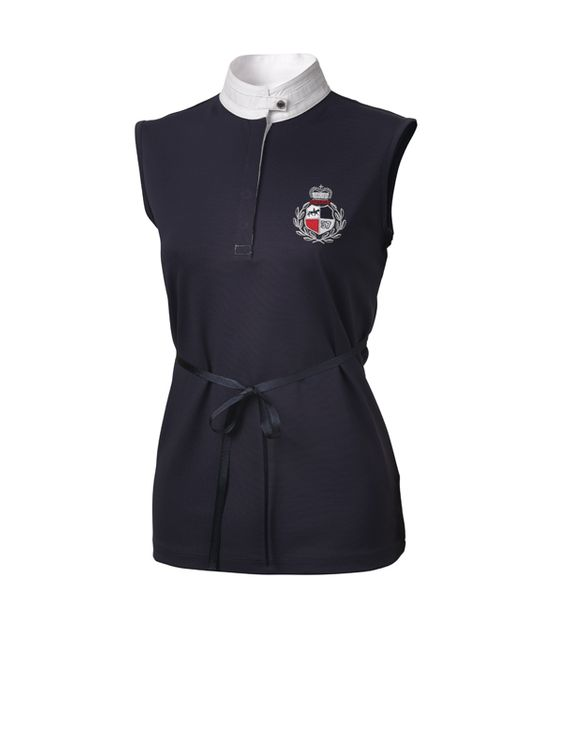 Pikeur - Modisches Damen Turniershirt mit Taillengürtel in navy