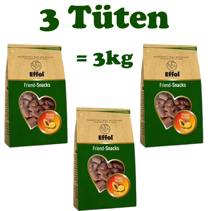 3 Tüten Effol Friend Snacks Leckerlies in Mango