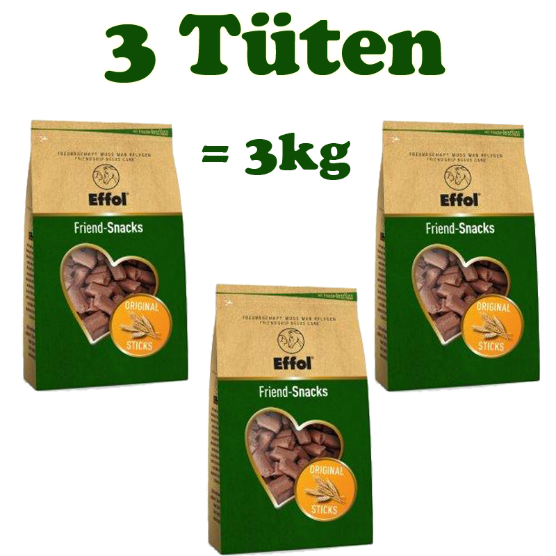 3 Tüten Effol Friend Snacks Leckerlies original
