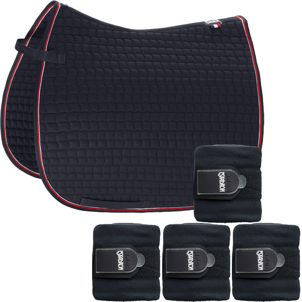 Set Eskadron Basic Cotton Schabracke mit Fleecebandagen in navy