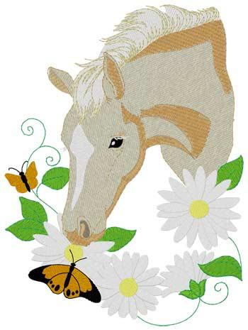 Palomino Pony mit Blumen - Stickmotiv ideal für Schabarcken