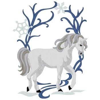 Pferd Art Nouveau - Stickmotiv ideal für Schabarcken