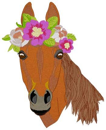 Pferd mit Blumenkrone - Stickmotiv ideal für Schabarcken