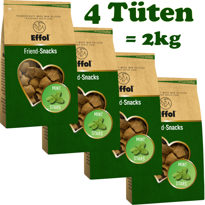 4 Tüten Effol Friend Snacks in Mint, Leckerchen 4x 500g