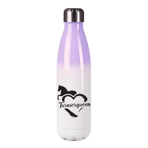 Edelstahl-Thermosflasche lila/weiß mit Druck: Turnierqueen